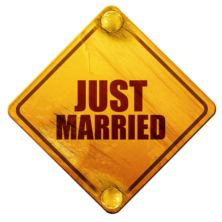 nuptial: just married, 3D rendering, yellow road sign on a white background Stock Photo