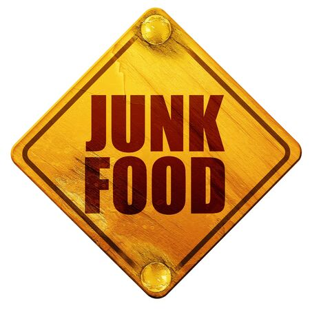 deep fried: junk food, 3D rendering, yellow road sign on a white background Stock Photo