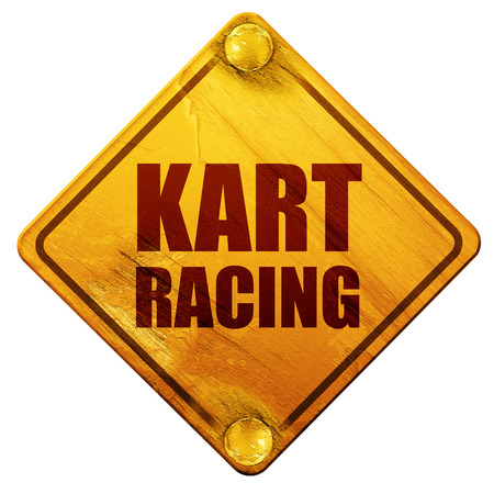 racing sign: kart racing, 3D rendering, yellow road sign on a white background