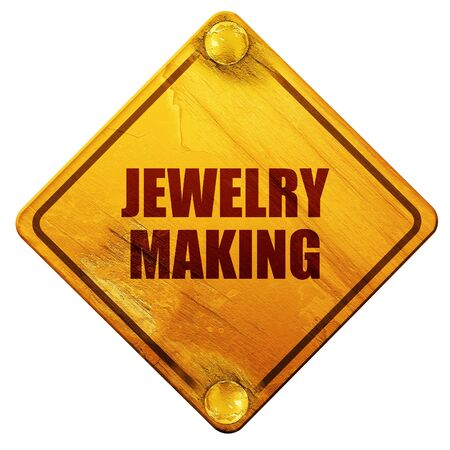 ring road: jewelry making, 3D rendering, yellow road sign on a white background Stock Photo