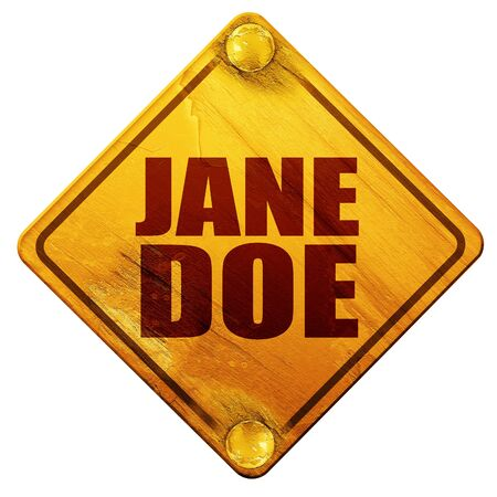 doe: jane doe, 3D rendering, yellow road sign on a white background Stock Photo
