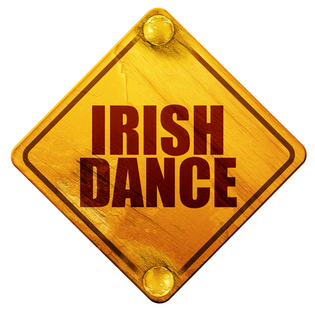 triskel: irish dance, 3D rendering, yellow road sign on a white background