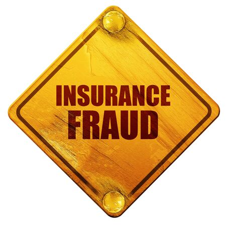 office theft: insurance fraud, 3D rendering, yellow road sign on a white background Stock Photo