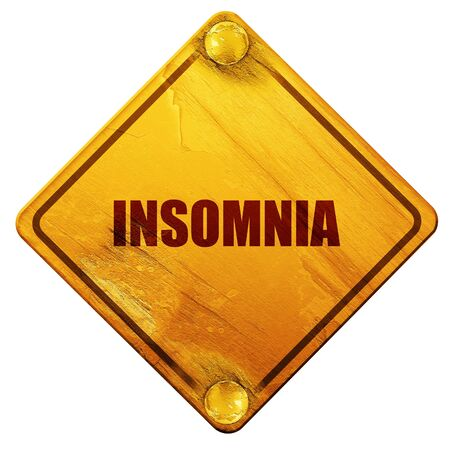 apnea: insomnia, 3D rendering, yellow road sign on a white background