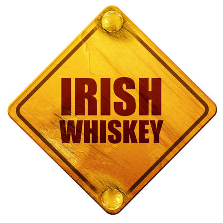 bottle screw: irish whiskey, 3D rendering, yellow road sign on a white background