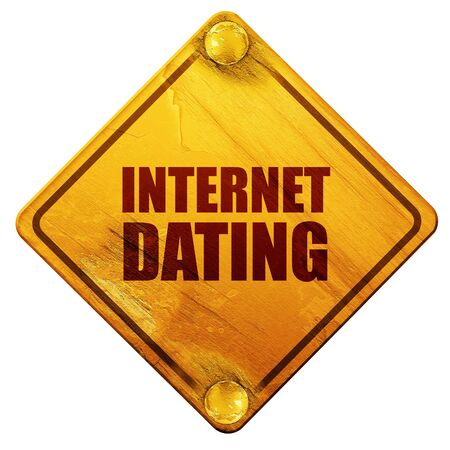 internet dating: internet dating, 3D rendering, yellow road sign on a white background