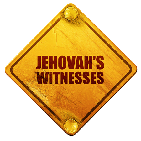 salesmen: jehovahs witnesses, 3D rendering, yellow road sign on a white background Stock Photo