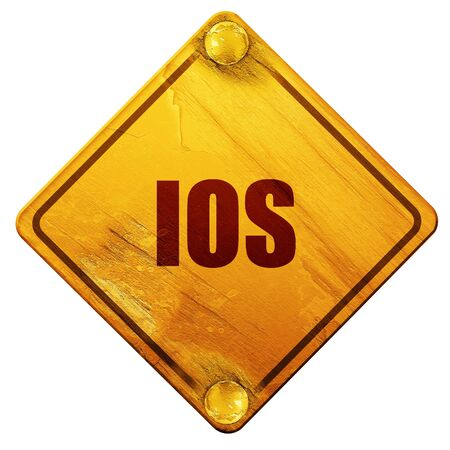ios: ios, 3D rendering, yellow road sign on a white background