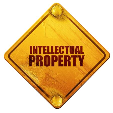 intellectual: intellectual property, 3D rendering, yellow road sign on a white background