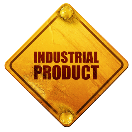 isolation: industrial product, 3D rendering, yellow road sign on a white background