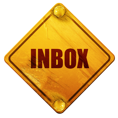 inbox, 3D rendering, yellow road sign on a white background