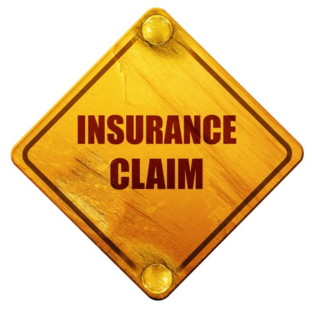 compensate: insurance claim, 3D rendering, yellow road sign on a white background Stock Photo