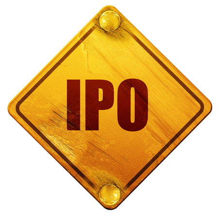 initial public offerings: ipo, 3D rendering, yellow road sign on a white background