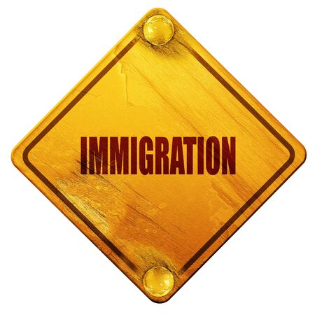 reform: immigration, 3D rendering, yellow road sign on a white background