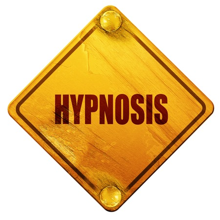 hypnotism: hypnosis, 3D rendering, yellow road sign on a white background Stock Photo