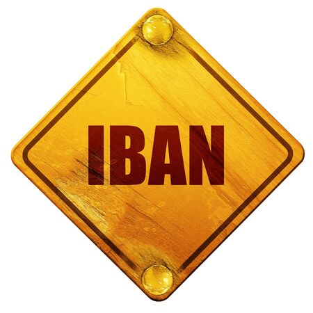 euro screw: iban, 3D rendering, yellow road sign on a white background