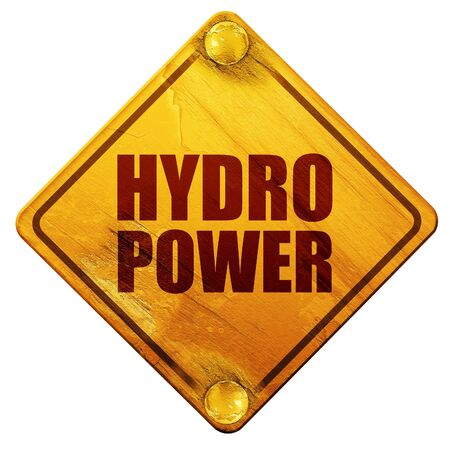 hydro power, 3D rendering, yellow road sign on a white background Stock Photo