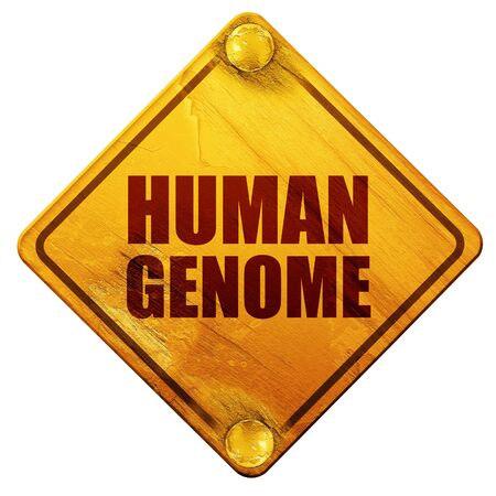 genome: human genome, 3D rendering, yellow road sign on a white background Stock Photo