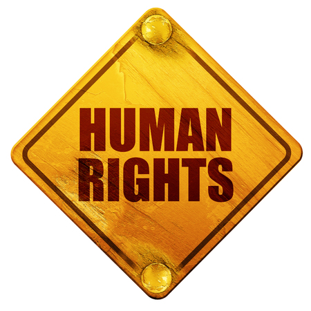 human rights: human rights, 3D rendering, yellow road sign on a white background