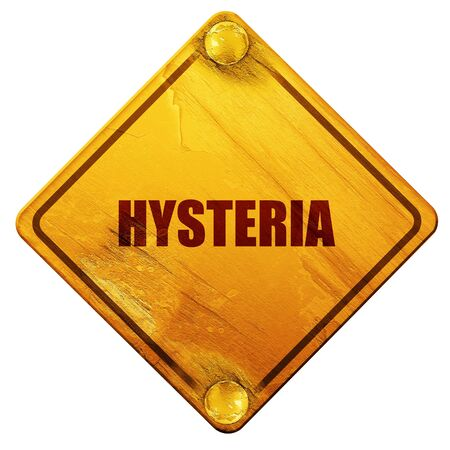 road rage: hysteria, 3D rendering, yellow road sign on a white background