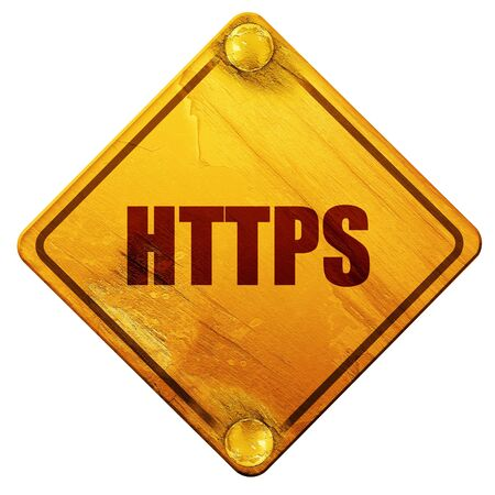 https: https, 3D rendering, yellow road sign on a white background