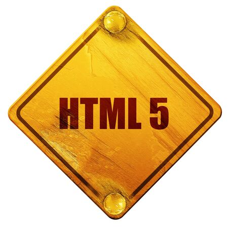 html5: html 5, 3D rendering, yellow road sign on a white background