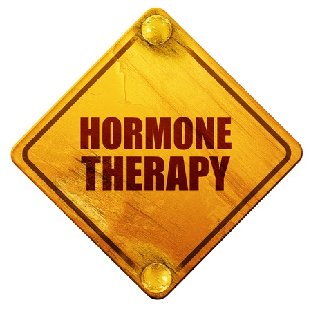 hormone: hormone therapy, 3D rendering, yellow road sign on a white background
