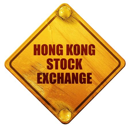 hong kong street: hong kong stock exchange, 3D rendering, yellow road sign on a white background