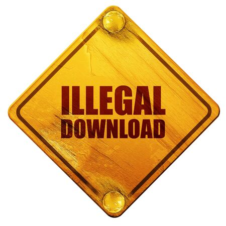 torrent: illlegal download, 3D rendering, yellow road sign on a white background