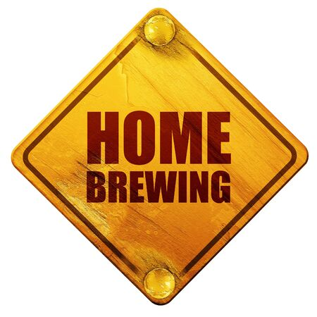 brewing: home brewing, 3D rendering, yellow road sign on a white background