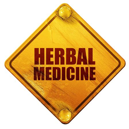 street drug: herbal medicine, 3D rendering, yellow road sign on a white background