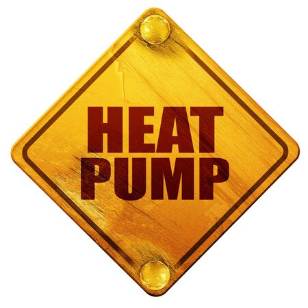 coolant: heat pump, 3D rendering, yellow road sign on a white background