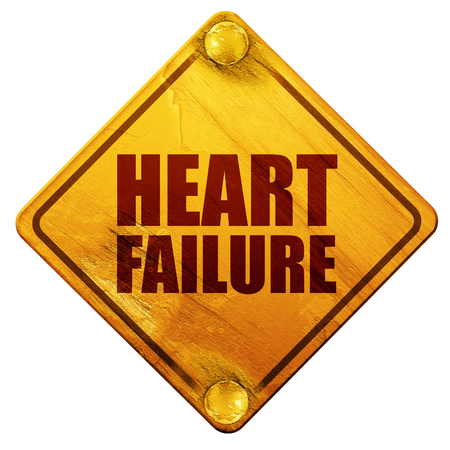 heart failure: heart failure, 3D rendering, yellow road sign on a white background Stock Photo