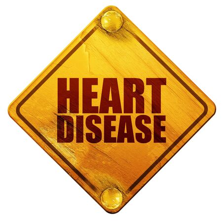 heart disease: heart disease, 3D rendering, yellow road sign on a white background