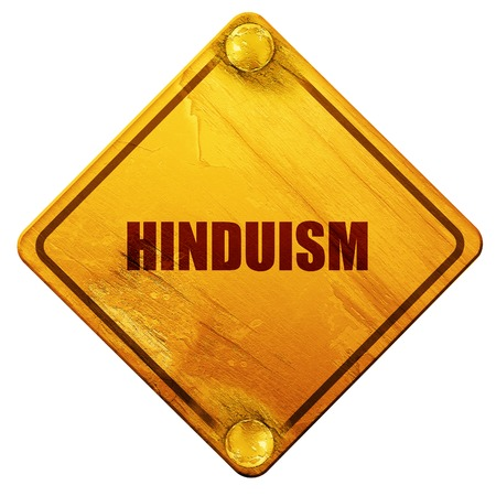 hinduism: hinduism, 3D rendering, yellow road sign on a white background