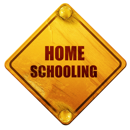 homeschooling: homeschooling, 3D rendering, yellow road sign on a white background Stock Photo