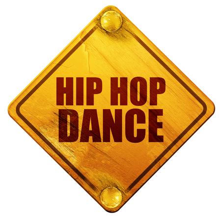baile hip hop: danza del salto de la cadera, 3D, señal de tráfico amarillo sobre un fondo blanco Foto de archivo