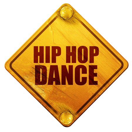 hip hop dance: hip hop dance, 3D rendering, yellow road sign on a white background