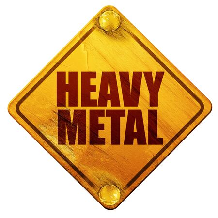 heavy metal: heavy metal music, 3D rendering, yellow road sign on a white background Stock Photo