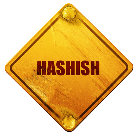 hashish: hashish, 3D rendering, yellow road sign on a white background