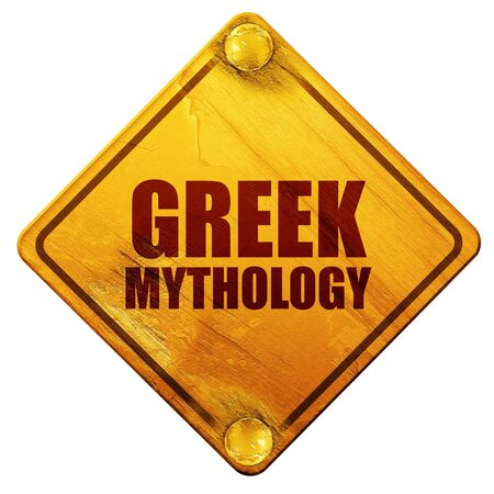 mythology: greek mythology, 3D rendering, yellow road sign on a white background Stock Photo