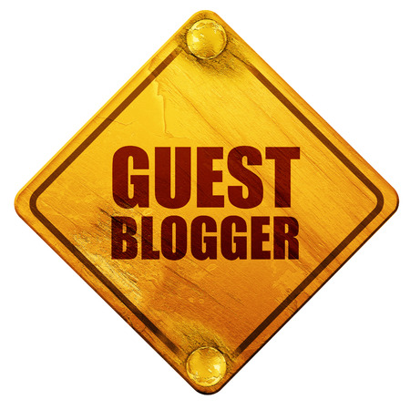 guests website: guest blogger, 3D rendering, yellow road sign on a white background Stock Photo