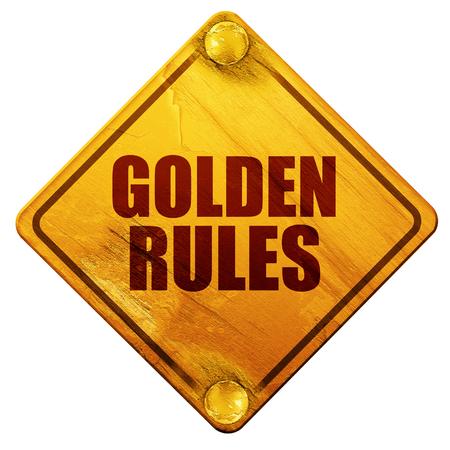 gouden regels, 3D-rendering, gele verkeersbord op een witte achtergrond