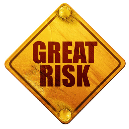 oblivious: great risk, 3D rendering, yellow road sign on a white background