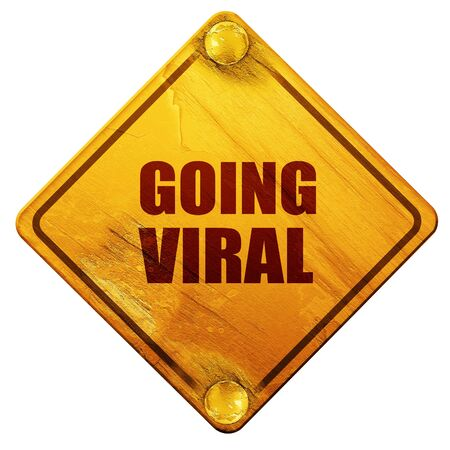 work popular: going viral, 3D rendering, yellow road sign on a white background Stock Photo