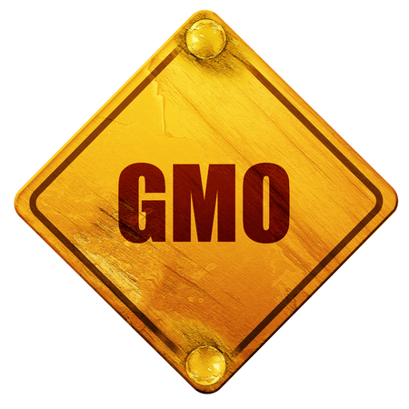 genetically modified crops: gmo, 3D rendering, yellow road sign on a white background