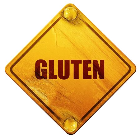 quot: gluten, 3D rendering, yellow road sign on a white background