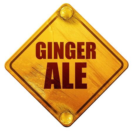ale: ginge ale, 3D rendering, yellow road sign on a white background