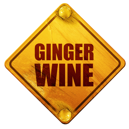 wine road: ginger wine, 3D rendering, yellow road sign on a white background