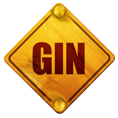 gin: gin, 3D rendering, yellow road sign on a white background